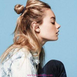 Yarım Topuz Saç Modelleri 12