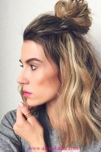 Yarım Topuz Saç Modelleri 4